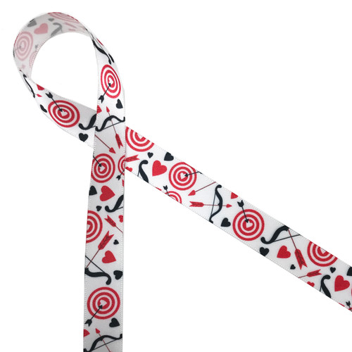 "Valentine targets with a heart bullseye tossed with hearts and black arrows on 5/8"" white single face satin ribbon is a fun party ribbon for Valentine's Day fun! Be sure to have this ribbon on hand to celebrate a day of love and romance!"