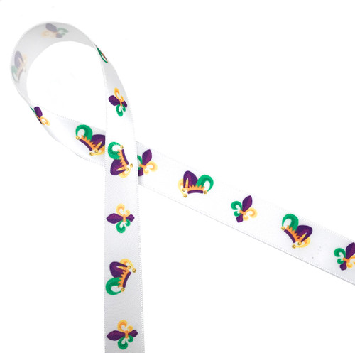 "Mardi Gras jester hats and fleur de lis in traditional colors of purple, green and yellow printed on 5/8"" white single face satin ribbon is a fun ribbon for all your Fat Tuesday celebrations!"
