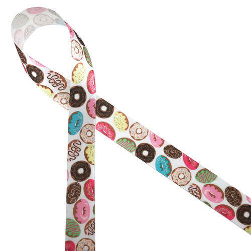 "Donuts of every variety printed on 7/8"" white single face satin ribbon makes a fun tie for donut favors at your next sweet treat themed party!"