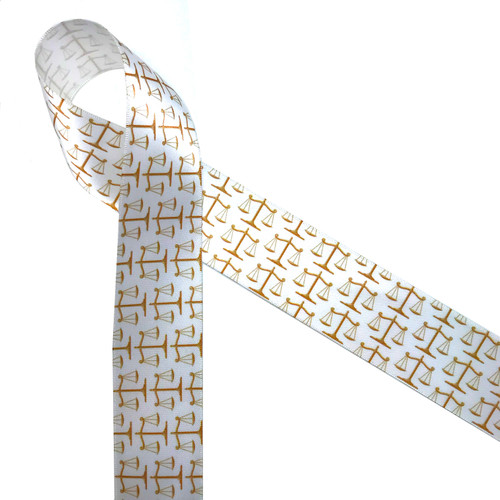 """Scales of justice in gold printed on 1.5"""" white single face satin ribbon is the perfect ribbon for law firms and law school graduations!"""