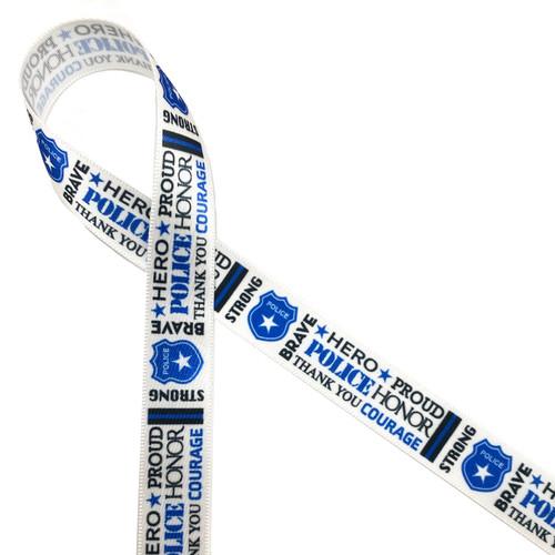 "Police word block ribbon printed on 5/8"" white single face satin ribbon."