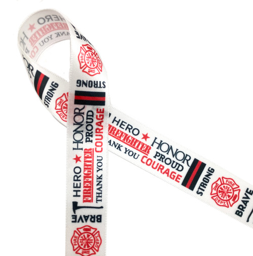 "Firefighter word block ribbon printed in red and black on 5/8"" white single face satin ribbon"