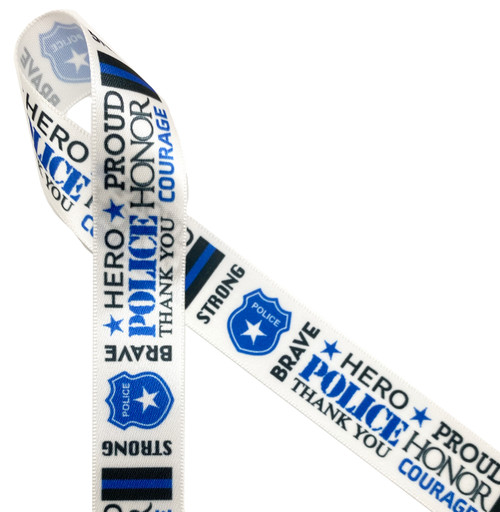"Police themed word block printed in black and blue on 7/8"" white single face satin ribbon"