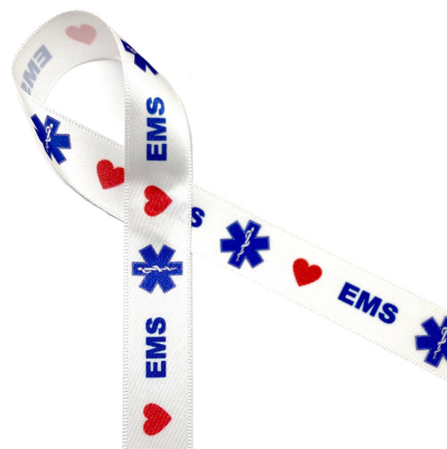 """Paramedic themed ribbon with the EMS logo and red hearts printed on 5/8"""" white single face satin ribbon"""