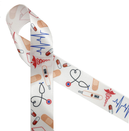 "Nurse ribbon with all the medical elements  printed on 7/8"" white single face satin ribbon is an ideal ribbon for gifts and favors for your favorite nurse! Remember Nurses Day on May 6th!"