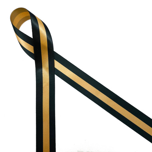"Dispatcher ribbon, thin gold line printed in black on 7/8"" gold single face satin ribbon."