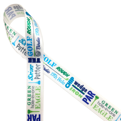 "Golf word block ribbon features all the lingo associated with the sport, printed on 5/8"" white single face satin, this is an ideal ribbon for Father's Day, gifts, favors,  golf tournaments, and banquets."
