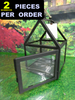 2pc Medium LANTERN Glass & Metal DECOR #15247T