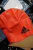 33pc ADIDAS Youth Swim Cap RED / CORAL & White #22574N (Z-1-2)