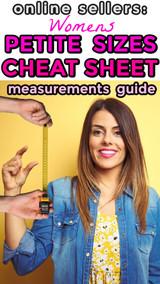 Petite Size Measurements Cheat Sheet Chart