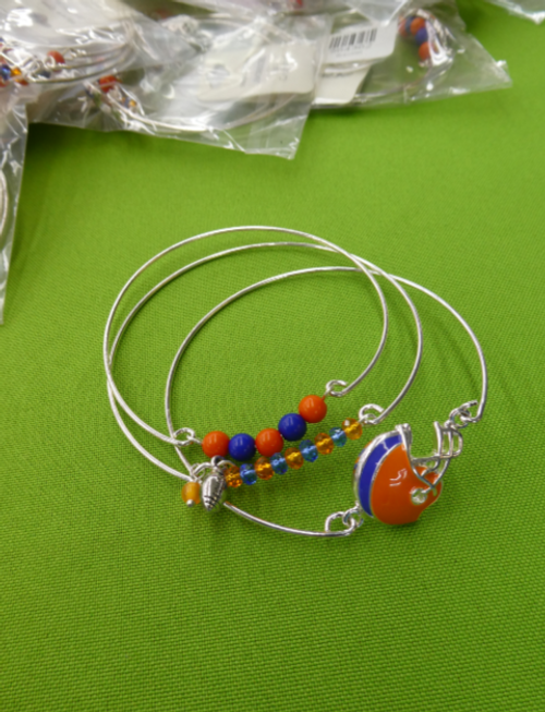 13 SETS = 39pc Blue & Orange FOOTBALL Bracelets #15164L (L-1-4)