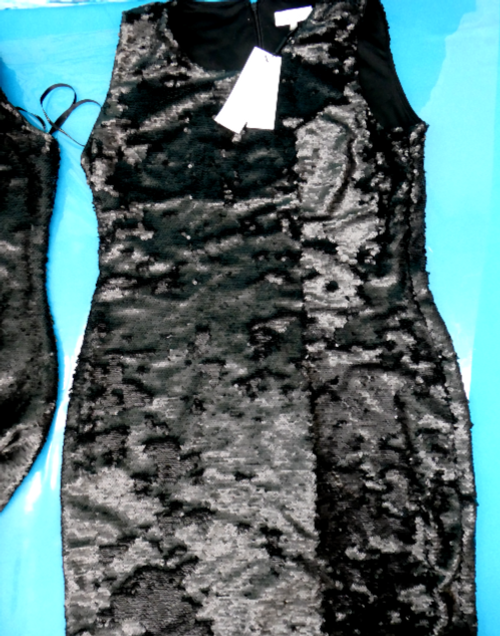 5pc $900 CK Black SEQUIN Dresses #16340C (g-5-3)