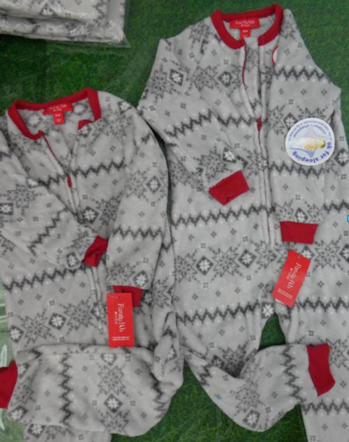 12pc KIDS Grey Fleece Sleepers FAMILY PJs #16646Q (v-1-7)