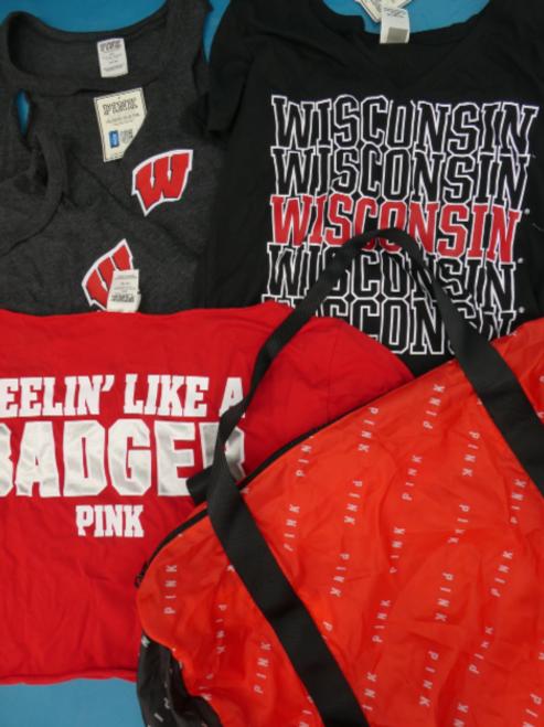 5pc VS PINK Wisconsin BADGERS + Duffel Bag #16959T (o-3-3)