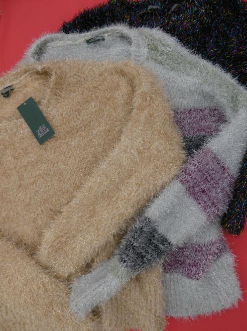 21pc Juniors Sparkly Faux FUR Sweaters MEDIUM #17036Y (i-1-7)