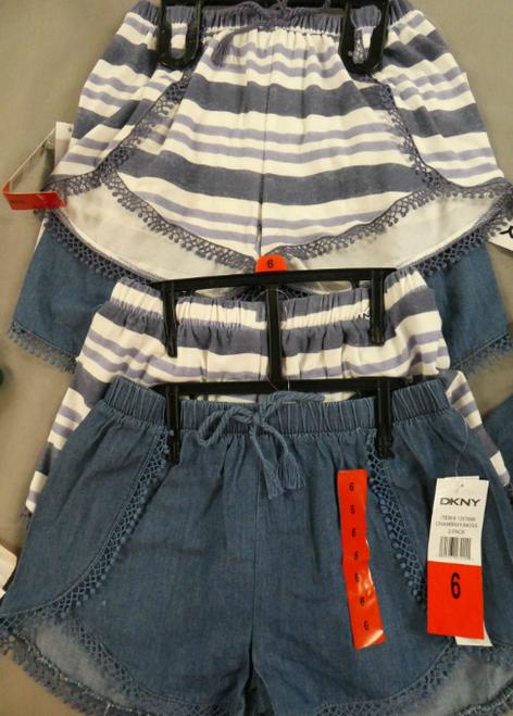 7 SETS = 14pc DKNY Shorts Stripe +Faux Jean 6 6X #17215i (K-5-4)