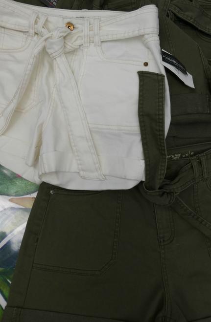 18pc VANILLA STAR Belted Jean Shorts GREEN Ivory #17518c ()