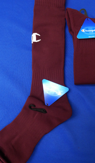 24 Pairs CHAMPION Sports Socks MAROON #17963u (O-3-4)
