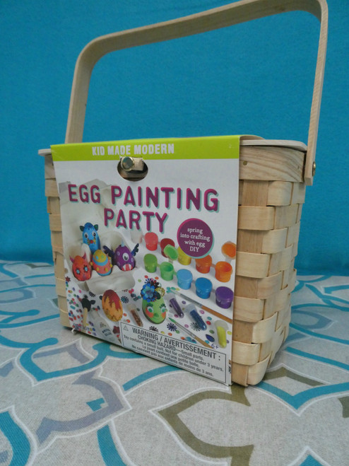 6 SETS Wooden Easter Egg Decorating KITS + Baskets #18318N (D-8)