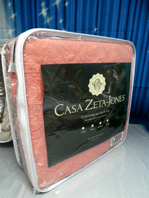 1pc CASA ZETA JONES Quilt Set QUEEN Coral #18365u (F-3-5)