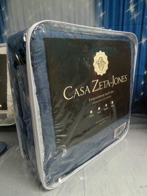 1pc CASA ZETA JONES Quilt Set QUEEN Blue #18366u (i-1-3)