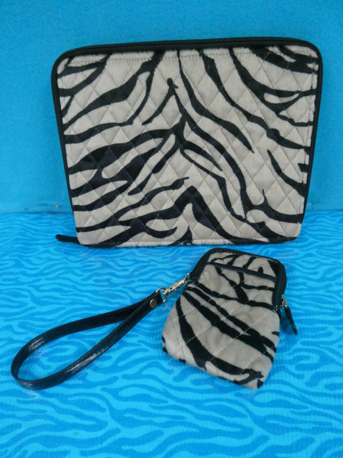 4 SETS (8pc) QVC Basso Tablet Cover Case & Mini Purse Cell Wristlet ZEBRA #18407d (C)
