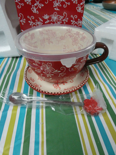 1 SET QVC Tem-Tations Tea Cup SOUP MUG w/ Lid & Spoon #18443F (Q-3-4)