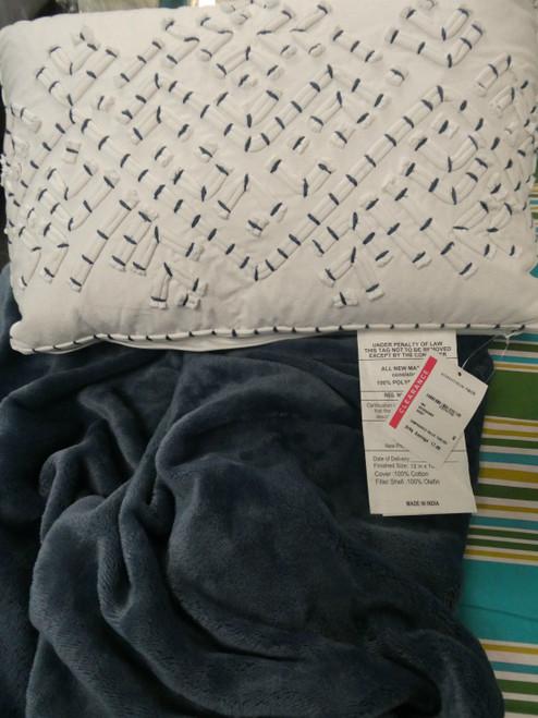 3pc BIG STORE $250 Blue & White Pillow Throw Set #19050c (V-1-4)