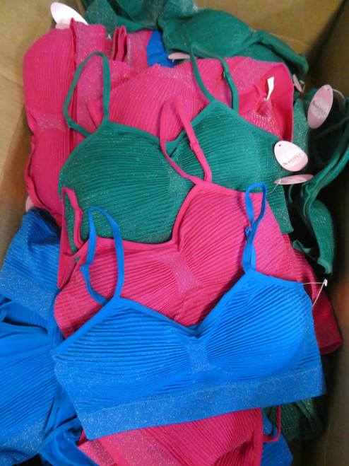24pc Shimmer Padded Sports Bras - 3 Colors #19480M (E-6-3)