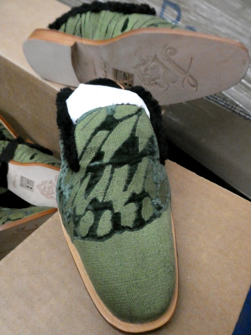 6prs Grab Bag FREE PEOPLE Fur Lined SLIDES Shoes GREEN #20072J ()