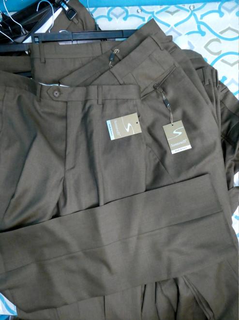 13pc MENS Santorelli Brown Slacks #20094L (N-3-2)