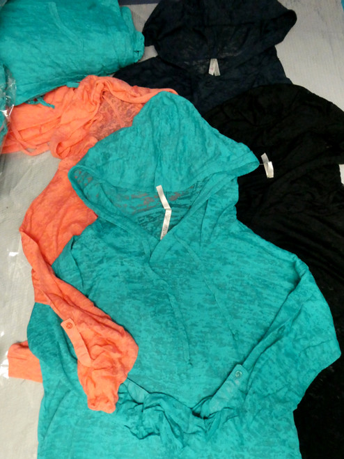24pc Juniors Lightweight Burnout Hoodies 4 COLORS! #20354H (J-5-6)