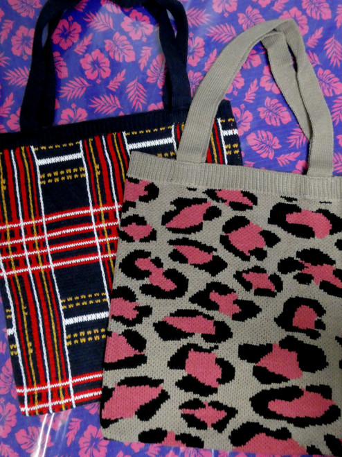 17pc Knit Tote Bags - 2 Patterns! #20361H ()