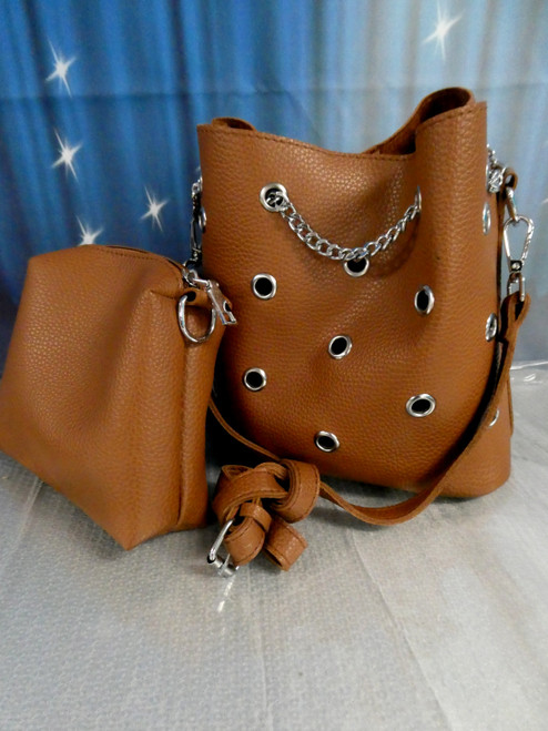 7 SETS = 14pc Purse & Bag SETS Brown w/Chrome Chain #20378i ()