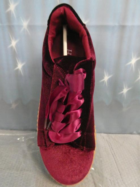 11prs Womens H2K Velvet Sneakers MERLOT #20422L (I-5-7)