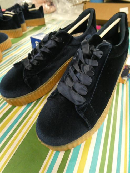 12prs Womens H2K Velvet Sneakers NAVY #20423L (F-3-5)
