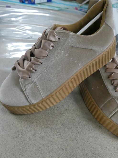 13prs Womens H2K Velvet Sneakers TAN #20424L (J-3-5)