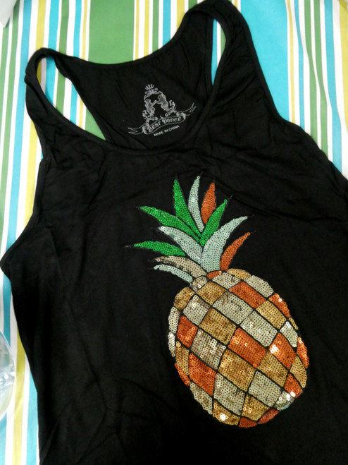 12pc BLING Pineapple Tanks - Sequins! S M L #20471Q (M-1-3)