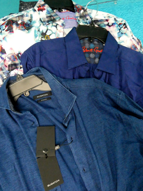 31pc MENS Button-Ups ROBERT GRAHAM Bugatchi ~ SOME IMPERFECT #20532T (I-2-1))