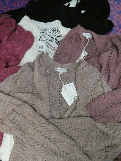 14pc Hippie Rose Hooked Up Pink Rose Jrs Crochet Cardigans #20546u (Q-4-4))