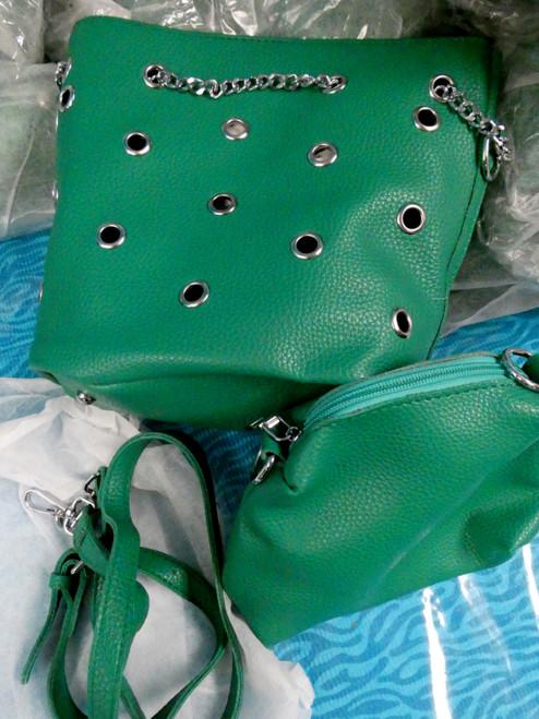 10 SETS = 20pc Purse & Bag SETS Green w/Chrome Chain #20619A (B-2-1)