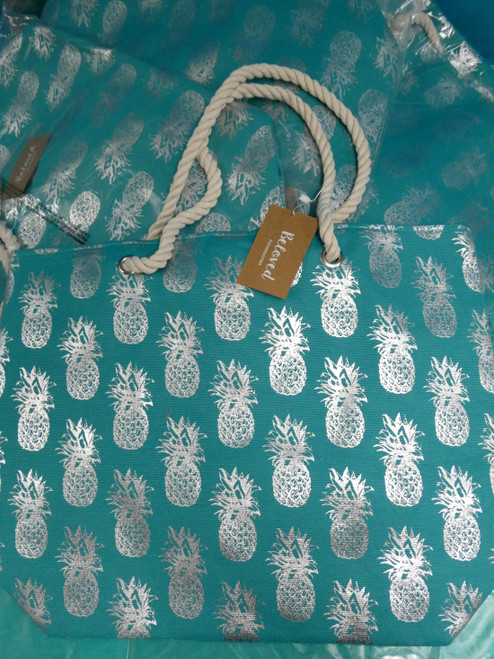 17pc Teal Jumbo Foil Pineapple Totes w/Rope Handle #20621B (O-3-1)
