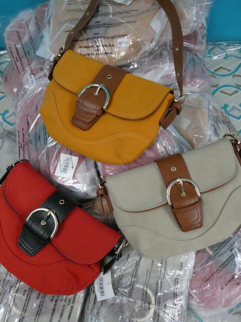 12pc Faux Suede & Leather Handbags ~ 3 Color Duplicates #20622B (C-3-4)