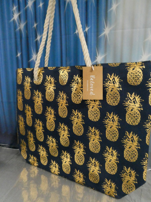 11pc Navy Blue Jumbo Foil Pineapple Totes w/Rope Handle #20626B (P-1-1)