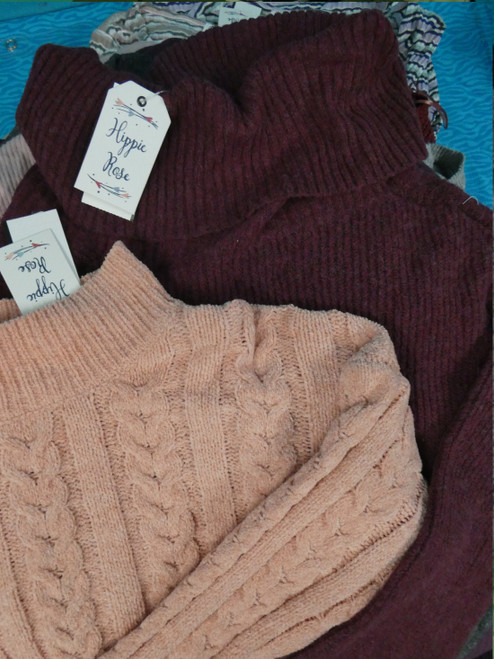 18pc GRAB BAG *ONLY Hippie Rose* Juniors Tops SWEATERS Thermals #20773P (E-6-6)