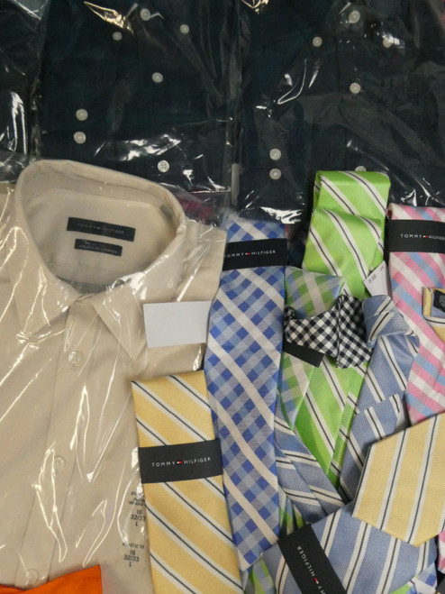22pc Mens *ONLY TOMMY HILFIGER* Dress Shirts & Ties #20889v (m-1-5)