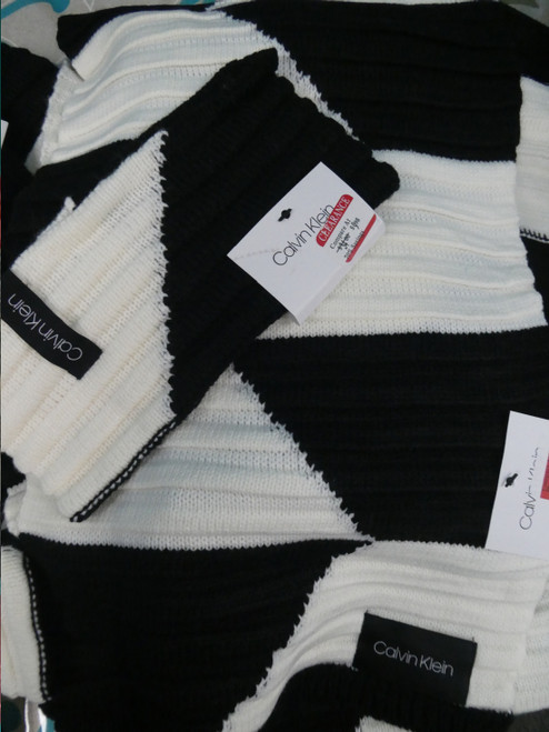 12pc ONLY CK MIX N MATCH Scarf & Head Warmer Sets BLACK CREAM #20995A (P-3-6)