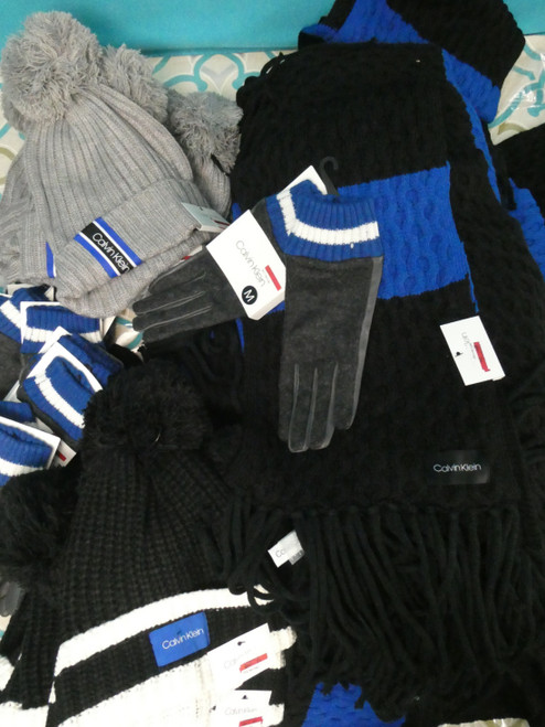 39pc ONLY CK MIX N MATCH Scarf Glove Hat Sets BLACK Grey BLUE #20996A (O-4-6)