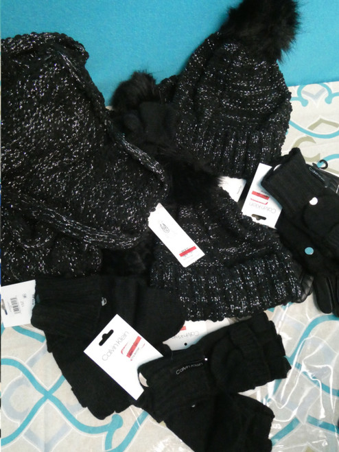 22pc ONLY CK MIX N MATCH Scarf Glove Hat Sets BLACK SILVER #20997A (J-3-7)