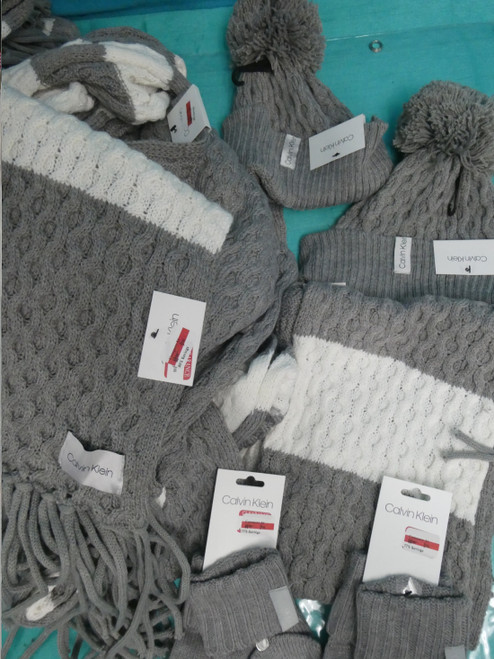 16pc *ONLY CK* MIX N MATCH SETS Grey Cream SCARVES & HATS #21008B (G-3-5)
